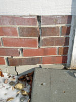 inward movement of foundation walls due to street creep damage