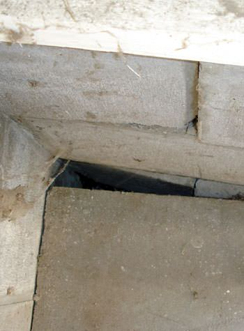inward rotation of a foundation wall damaged by street creep in a garage in Snowmass Village